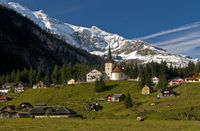 Mountain village in the Swiss Alps