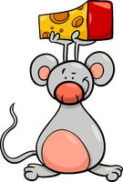 cute mouse with cheese cartoon