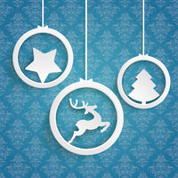 Christmas 3 White Rings Blue Background Ornaments