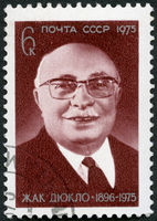 USSR - 1975: shows Jacques Duclos (1896-1975), French labor leader