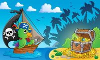 Pirate theme with treasure chest 4 - picture illustration.