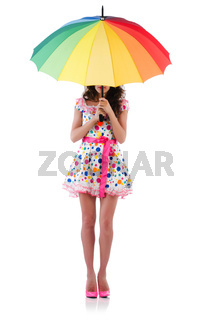 Woman with umbrella isolated on white