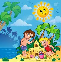 Summer theme with children playing - picture illustration.
