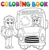 Coloring book school bus theme 4 - picture illustration.