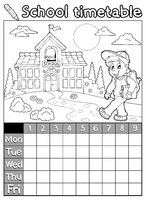 Coloring book school timetable 5 - picture illustration.