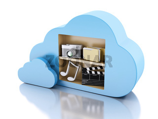 3d Cloud computing concept with multimedia icons on white background.