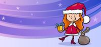 girl santa greeting card cartoon