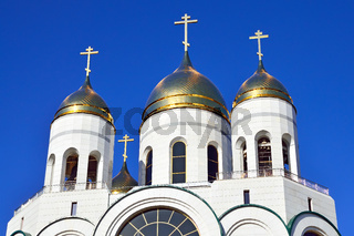 Domes of Russian Orthodox Church. Cathedral of Christ the Savior. Kaliningrad, Russia