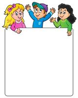 Blank frame with happy kids - picture illustration.