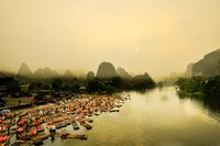 Li river baboo mountain landscape in Yangshuo Guilin