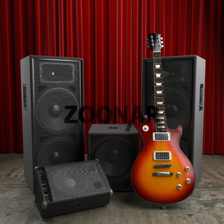 Guitar and speakers at red curtain stage