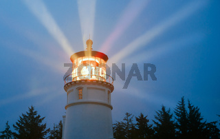 Lighthouse Beams Illumination Into Rain Storm Maritime Nautical Beacon