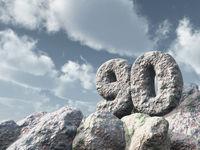 nummer neunzig aus stein - 3d illustration