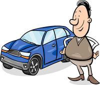 man and car cartoon illustration