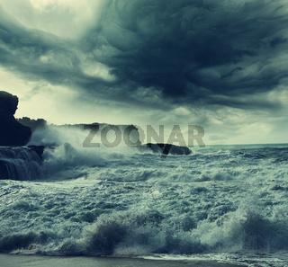 Storm on ocean