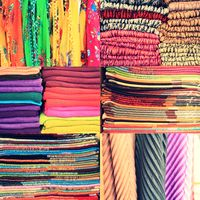 Set of textile material in a stack. Colorful cloth collection of images. Different colors of fabric,  great set