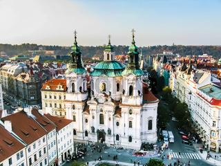 View on Saint Nicholas Church in Prague