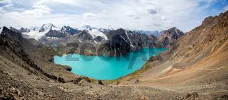 Wonderful panorama of Ala-Kul lake in Kyrgyzstan