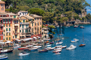Colorful houese and boats in Portofino.