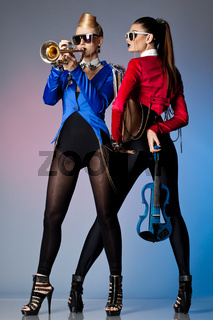 beautiful women with musical instruments