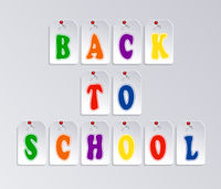 Words Back to school over gray