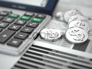 Financial concept.  Calculator, coins and graph.