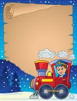 Winter parchment with locomotive - picture illustration.