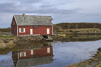 Red wooden house on the Atlantic Road