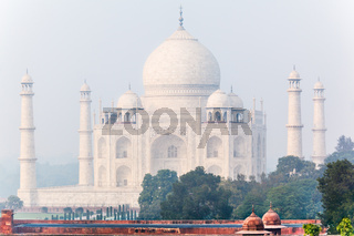 Taj Mahal in India  on a misty morning