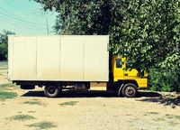 White truch parked near tree side view