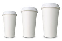three differently sized paper cups against a white background