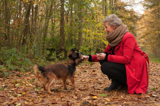 Retired woman and her dog