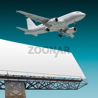 Airliner and billboard
