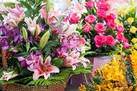 Beautiful different flowers bouquets at street shop