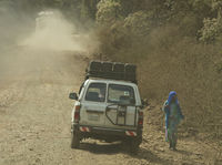 Off-roader on dirty road in Harenna Forest,Ethiopi