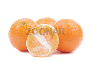 Fresh ripe tangerines on a white background.