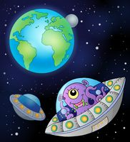 Flying saucers near Earth - picture illustration.