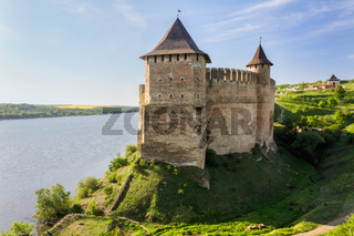 Old Medieval Castle (fortress) on Dniester riverside in Khotyn