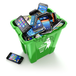 Mobile phones in trash can isolated on white background. Utilization cellphones concept.
