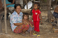 Woman with two kids, Cambodia