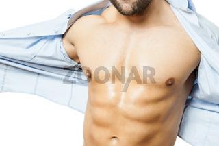 bodybuilding man shirt off