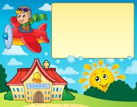 Frame with airplane and school - picture illustration.