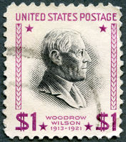 USA - 1938: shows Woodrow Wilson (1856-1924), 28th President of USA 1913-1921