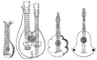 various musical instruments, precursors of the guitar, githerra or ghiterna, lute