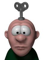 cartoon figur mit schlüssel zum aufziehen auf dem kopf - 3d illustration