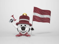 Soccer character fan supporting Latvia