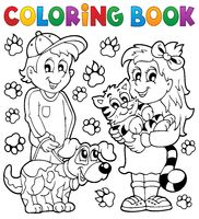 Coloring book children with pets - picture illustration.