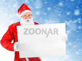 Santa Claus with Blank Board