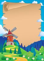 Parchment with windmill 1 - picture illustration.