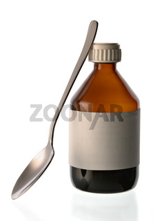 Small bottle with medical mixture and a spoon on a white background